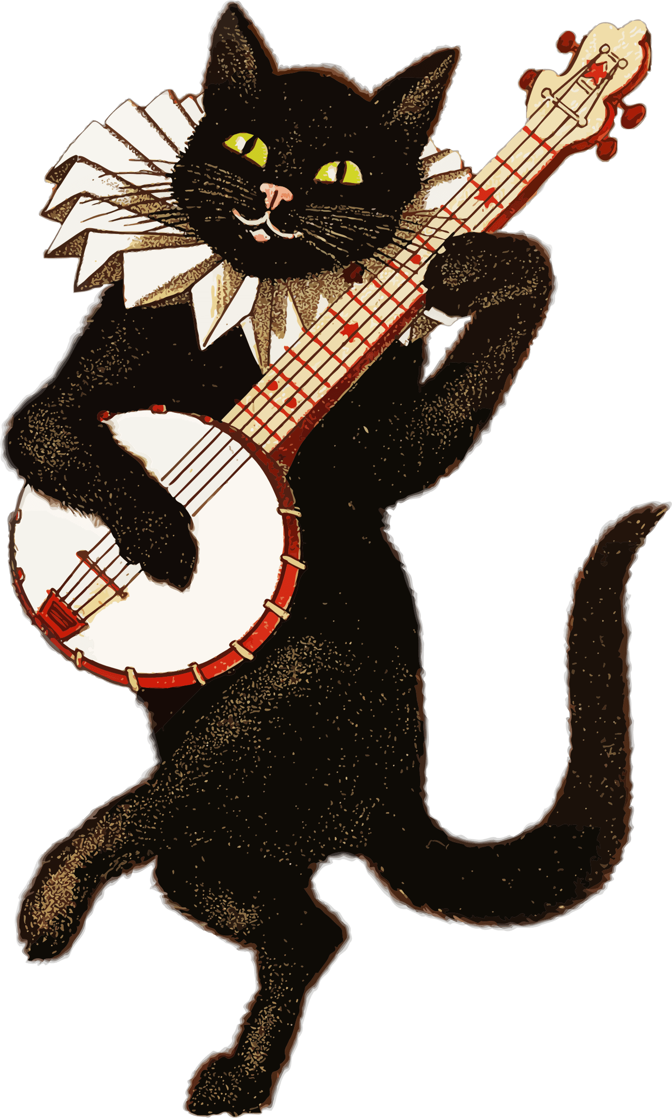 Vintage cat playing banjo transparent png stickpng for Retro images