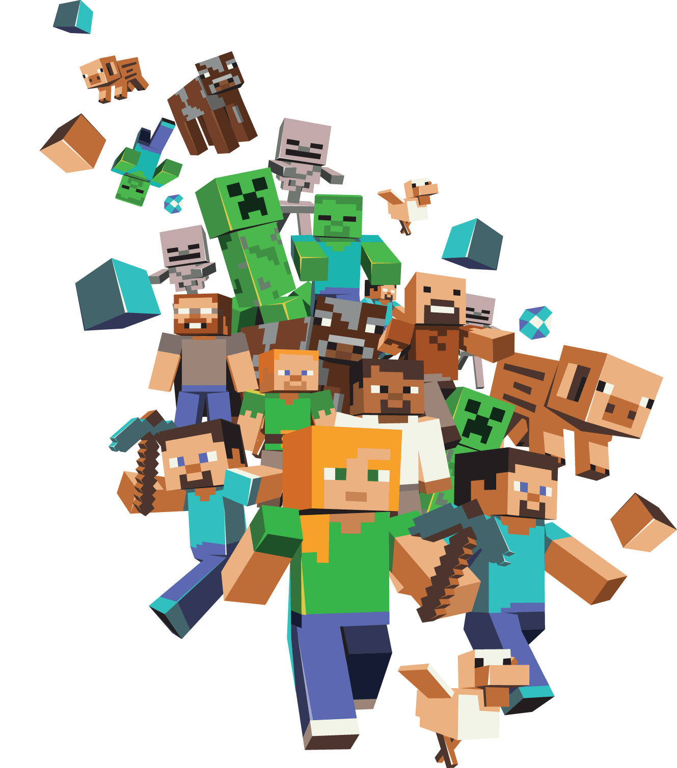 Character Design From The Ground Up Download : Minecraft large group transparent png stickpng