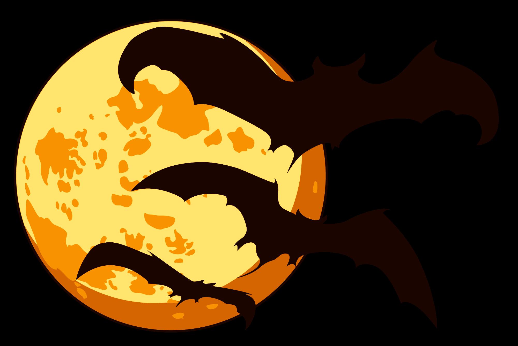 Orange Moon and Bats Halloween transparent PNG - StickPNG