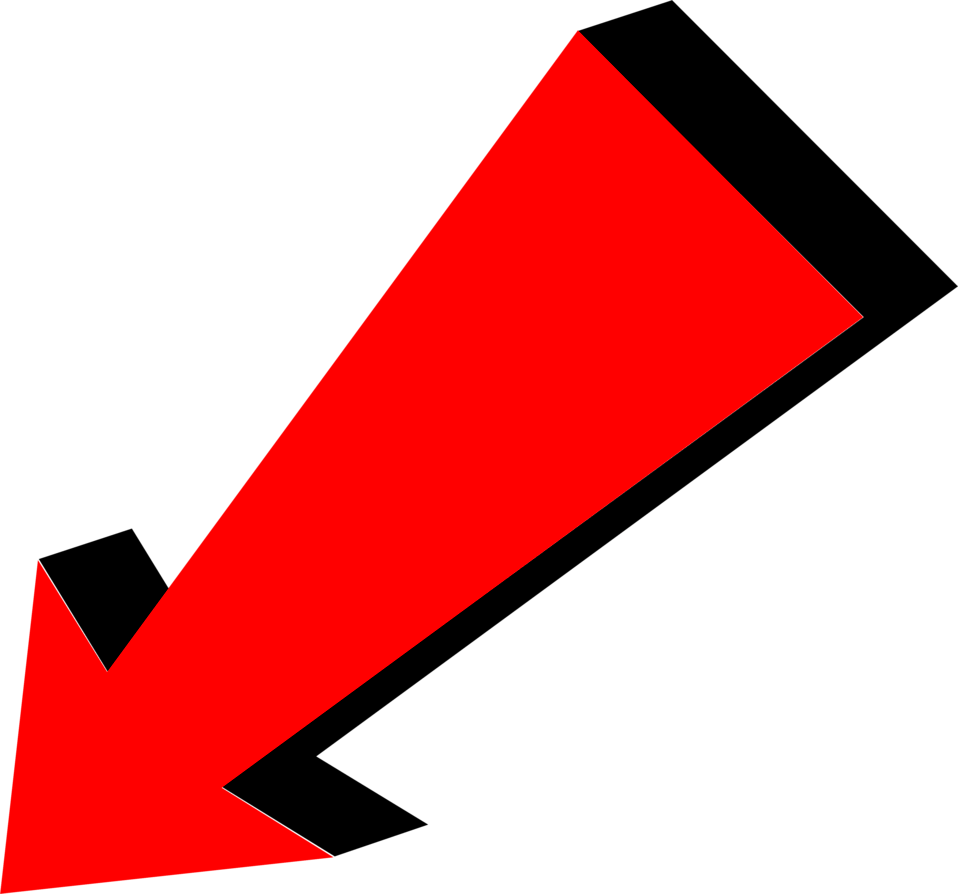 arrow red pointing bottom left transparent png stickpng