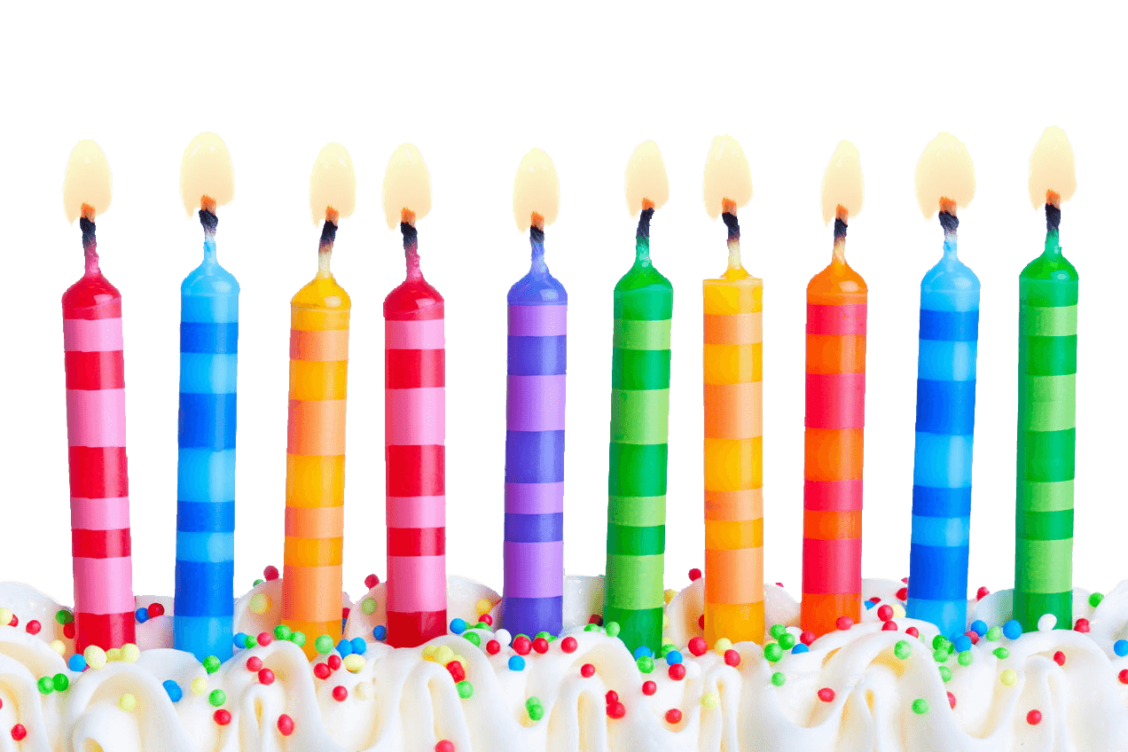 Birthday transparent background. Candles line png stickpng