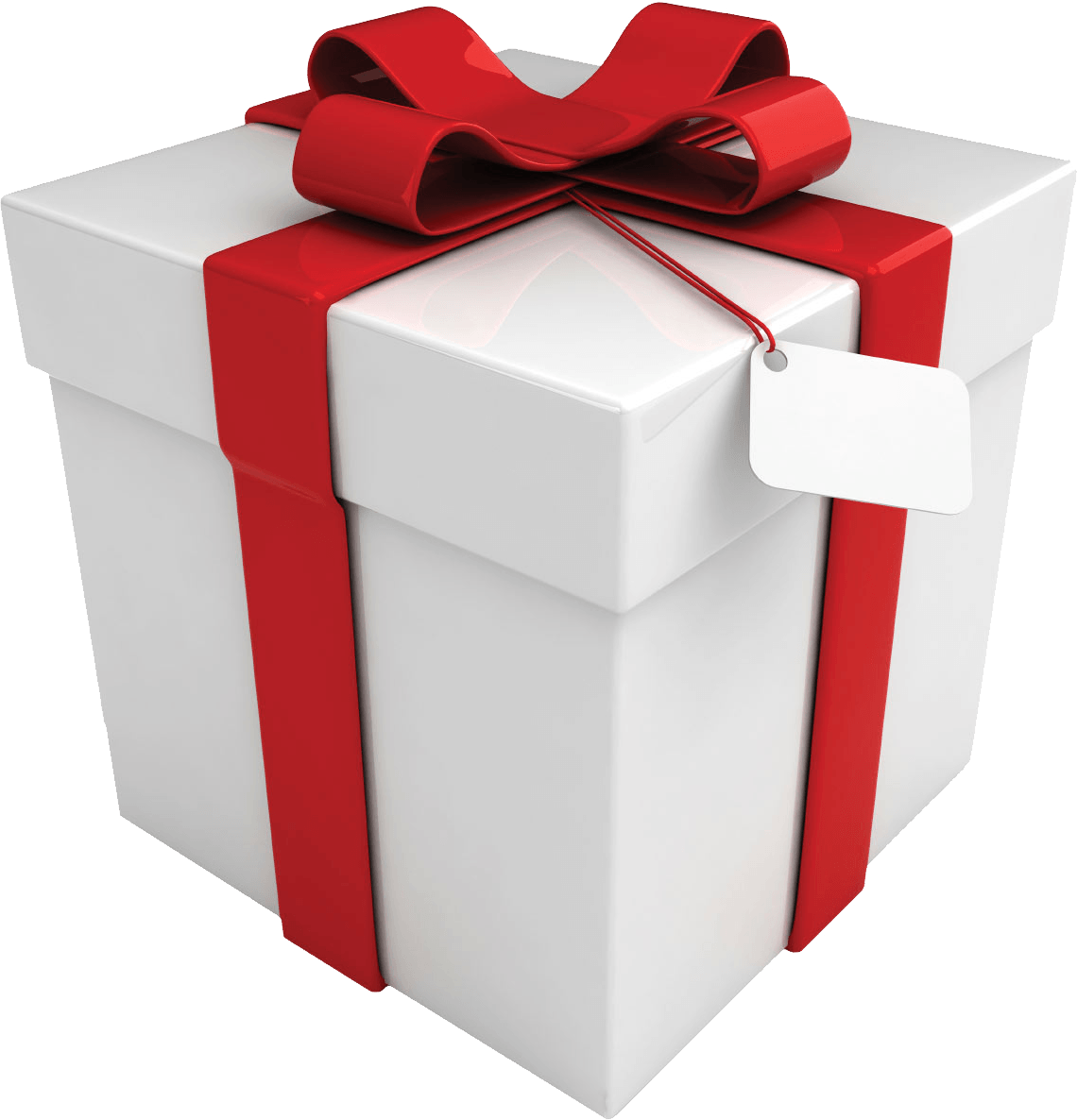 White Box Tag Red Ribbon Gift transparent PNG - StickPNG