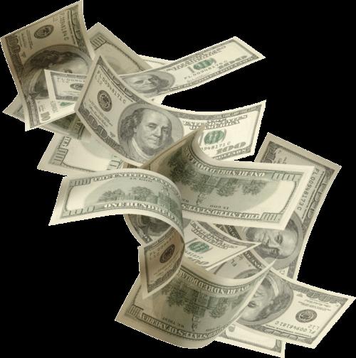 falling money transparent background