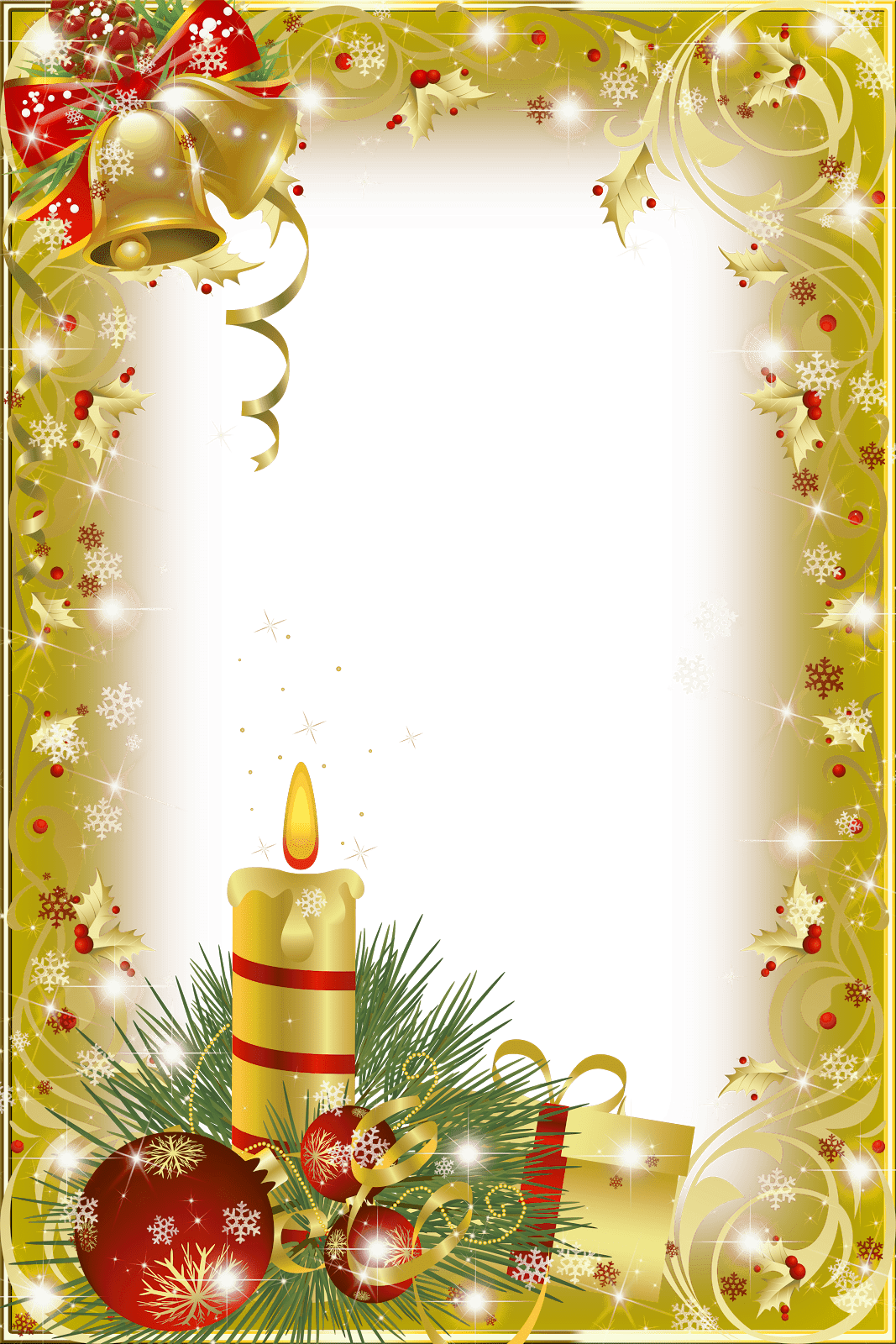 Christmas frame gold candle transparent png stickpng for Weihnachtskugeln transparent
