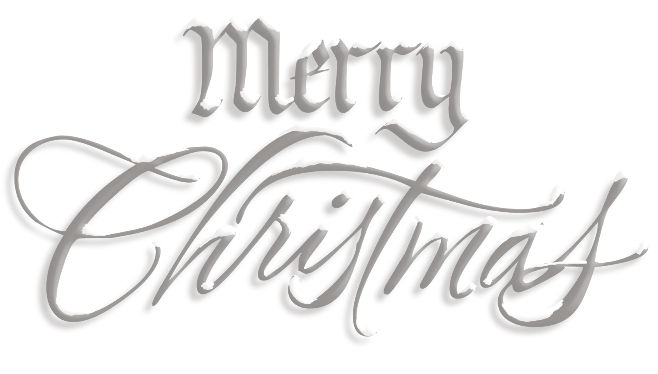 Merry Christmas Silver Snow Text transparent PNG - StickPNG