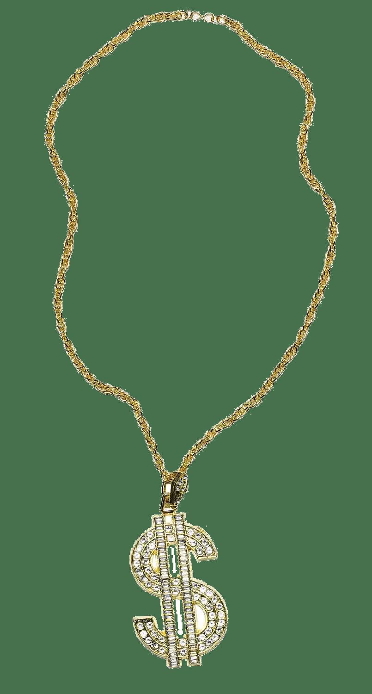 Thug Life Gold Chain Dollar Rocks transparent PNG - StickPNG
