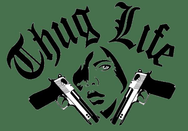 Thug life logo guns