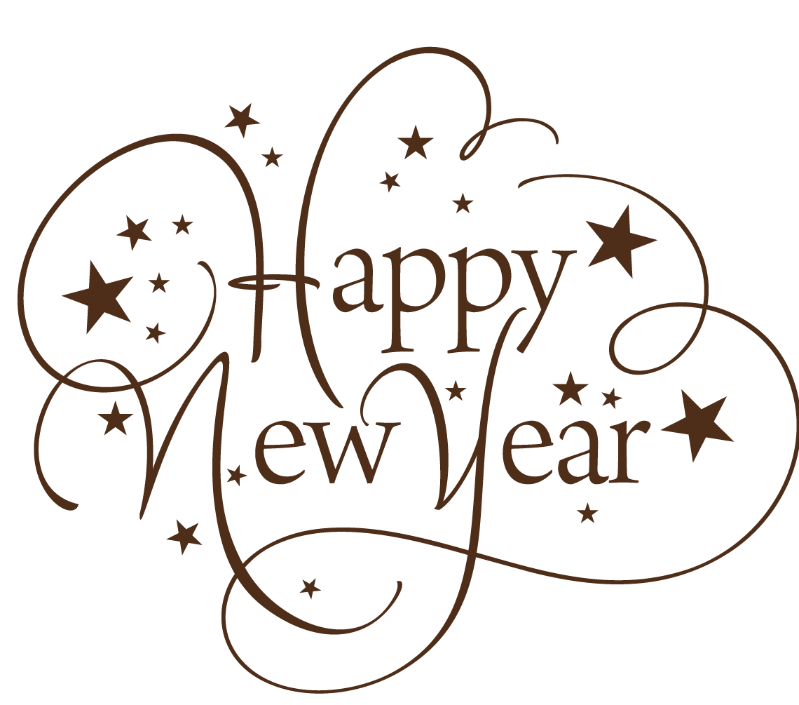 Happy New Year Thin Text transparent PNG - StickPNG