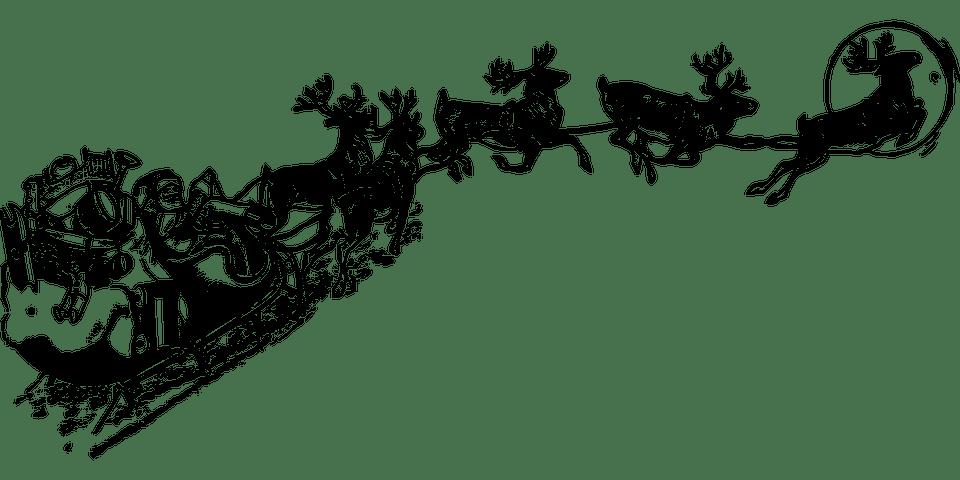 Père Noël Dans Son Traîneau Noir Et Blanc Png Transparents