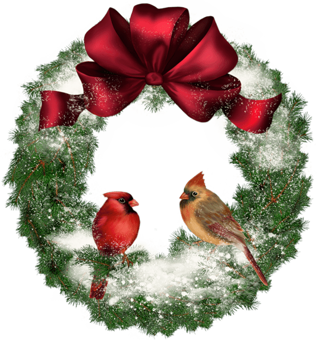 Christmas Wreath With Birds Transparent Png Stickpng