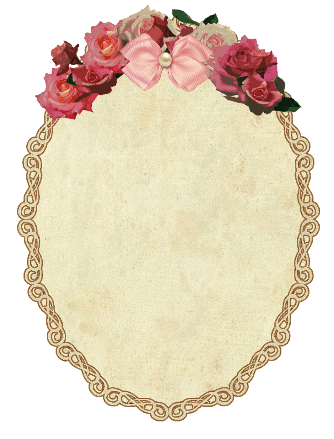 Oval Frame Design Vintage With Flowers