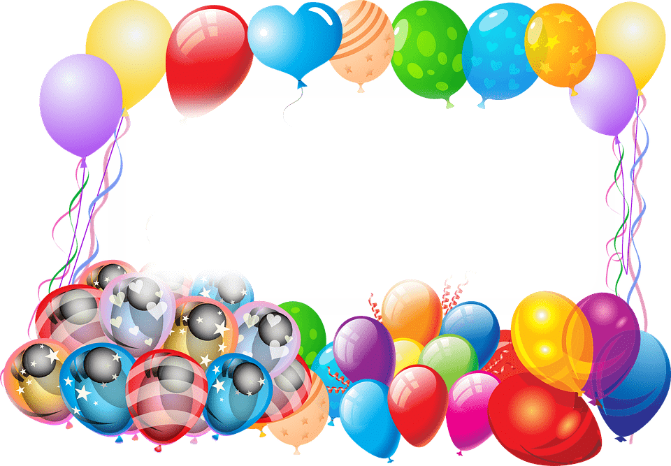 Happy Birthday Frame With Balloons transparent PNG - StickPNG