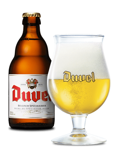 Duvel Bottle With Glass transparent PNG - StickPNG