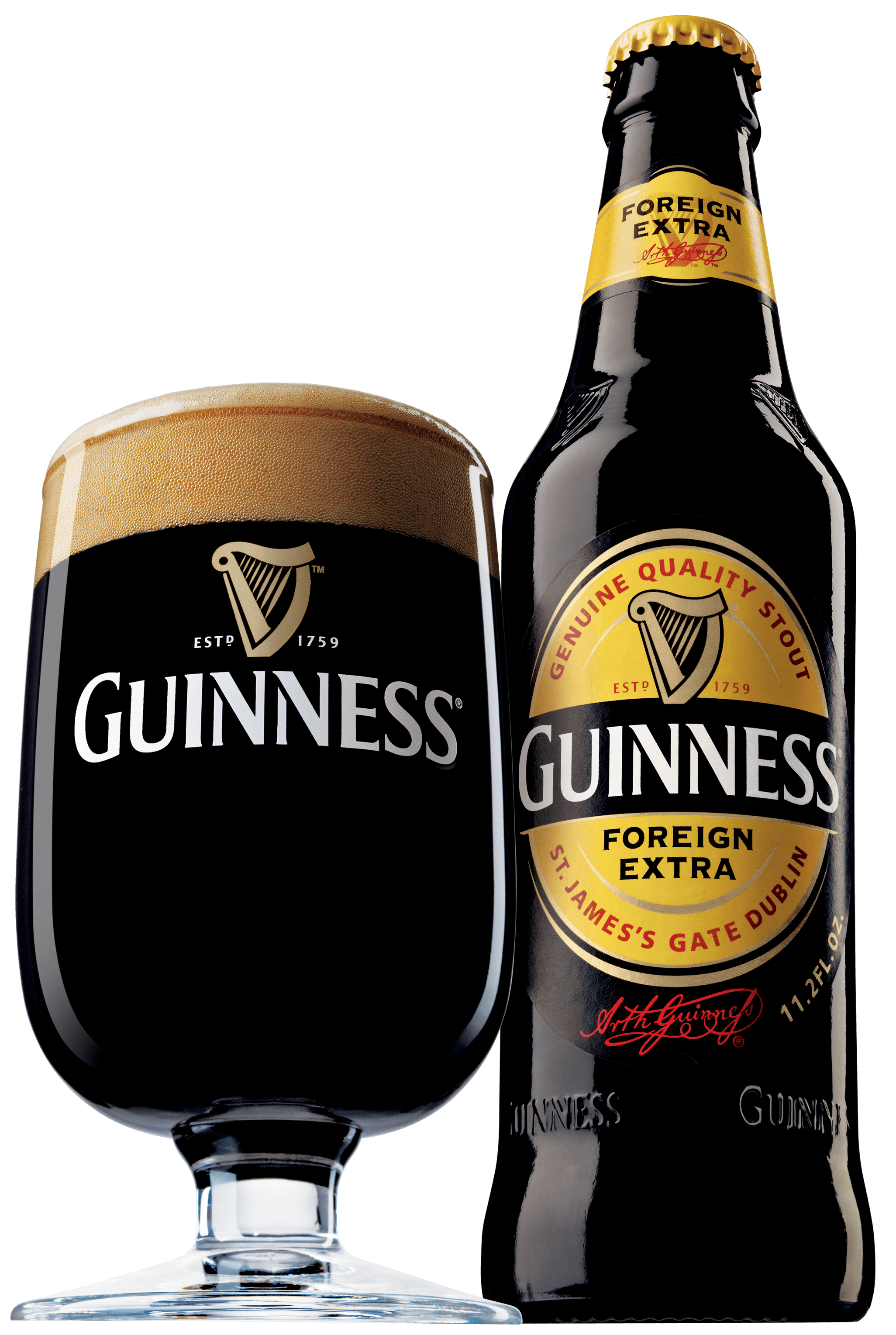 Guinness foreign extra bottle and glass transparent png for Guinness beer in ireland