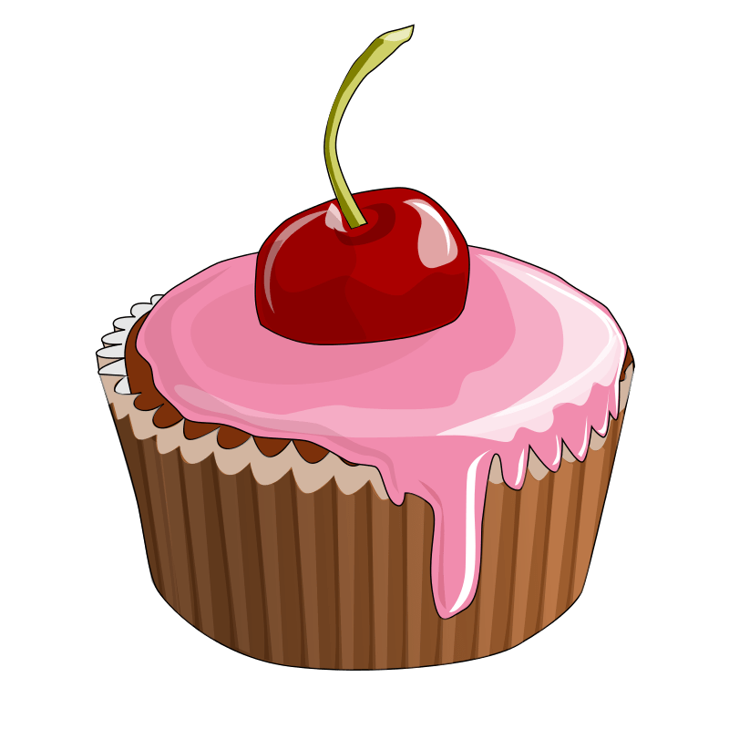 Cartoon Cupcake Cherry On Top Transparent PNG