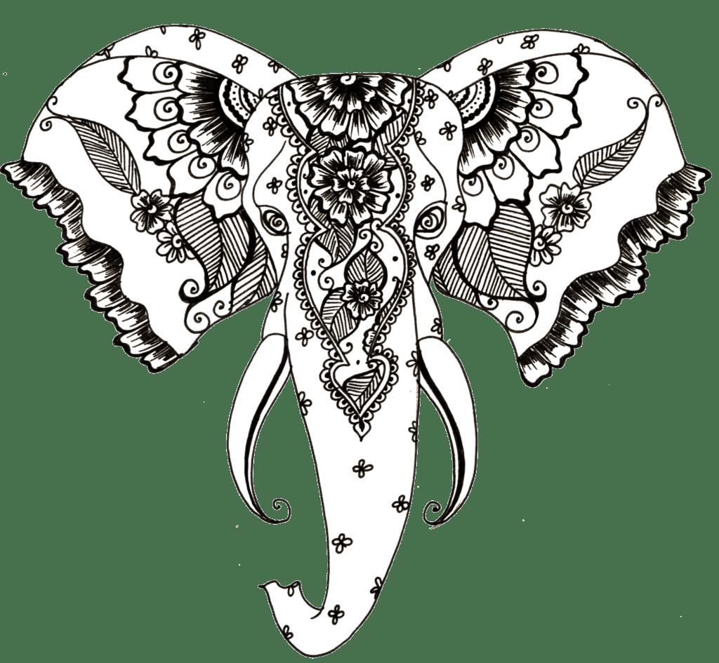 Henna Design Line Art : Henna style elephant tattoo transparent png stickpng