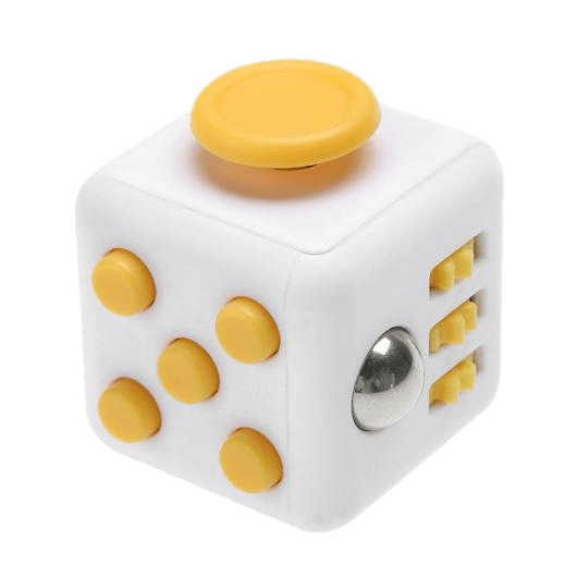 White And Yellow Fidget Cube