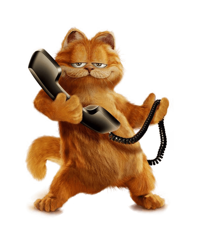 Garfield on the Phone transparent PNG - StickPNG