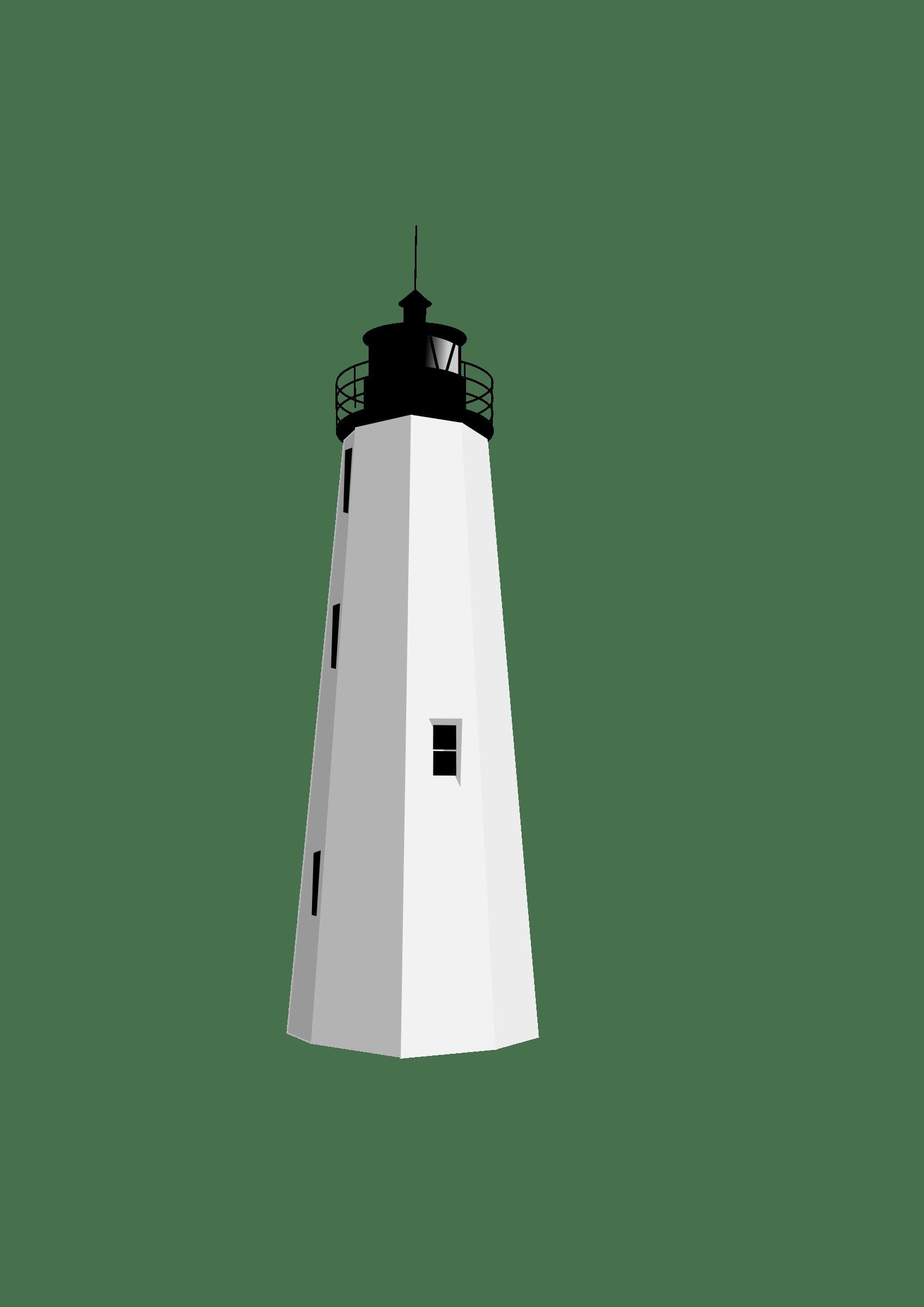 Black White Lighthouse Clipart