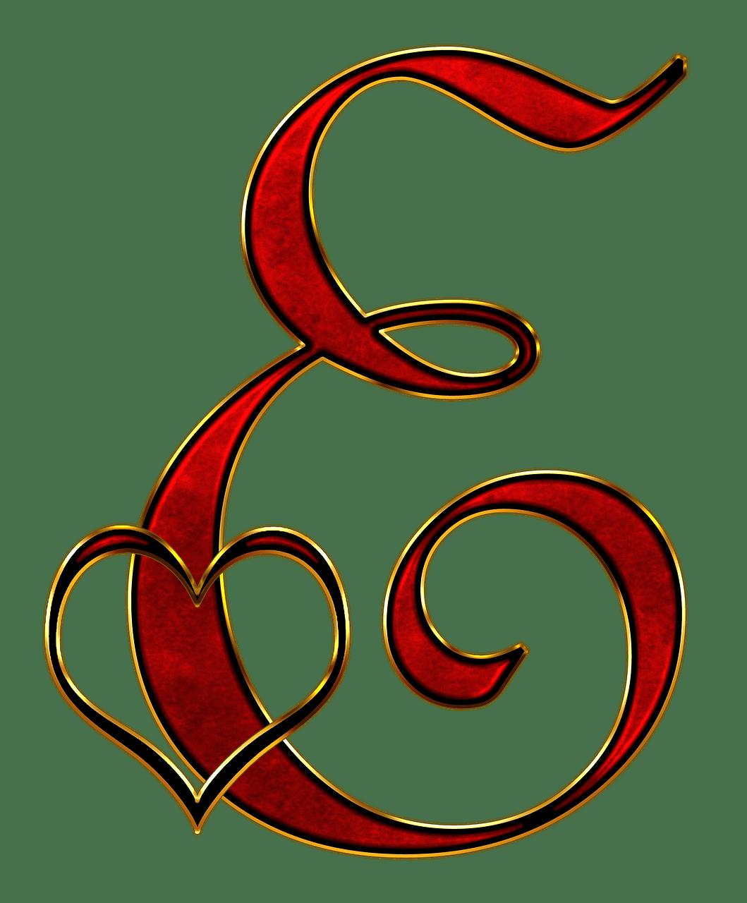 Valentine Capital Letter E transparent PNG  StickPNG