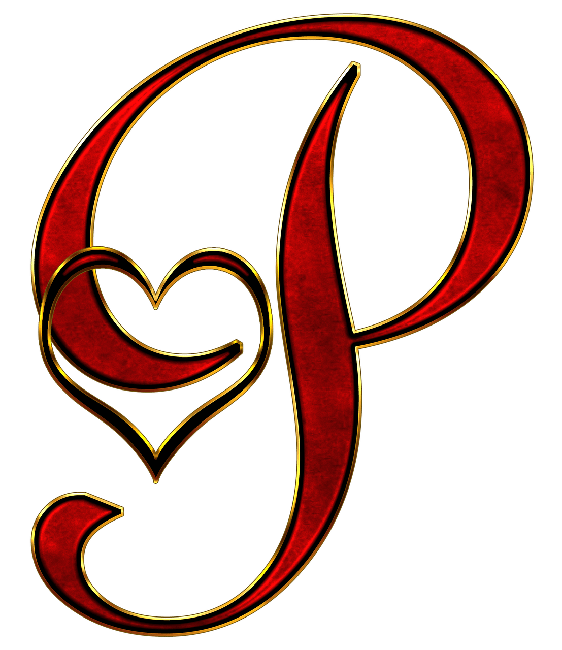 Valentine Capital Letter P transparent PNG - StickPNG