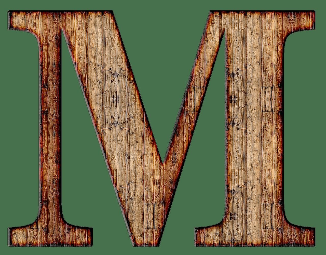 Wooden Capital Letter M Transparent PNG
