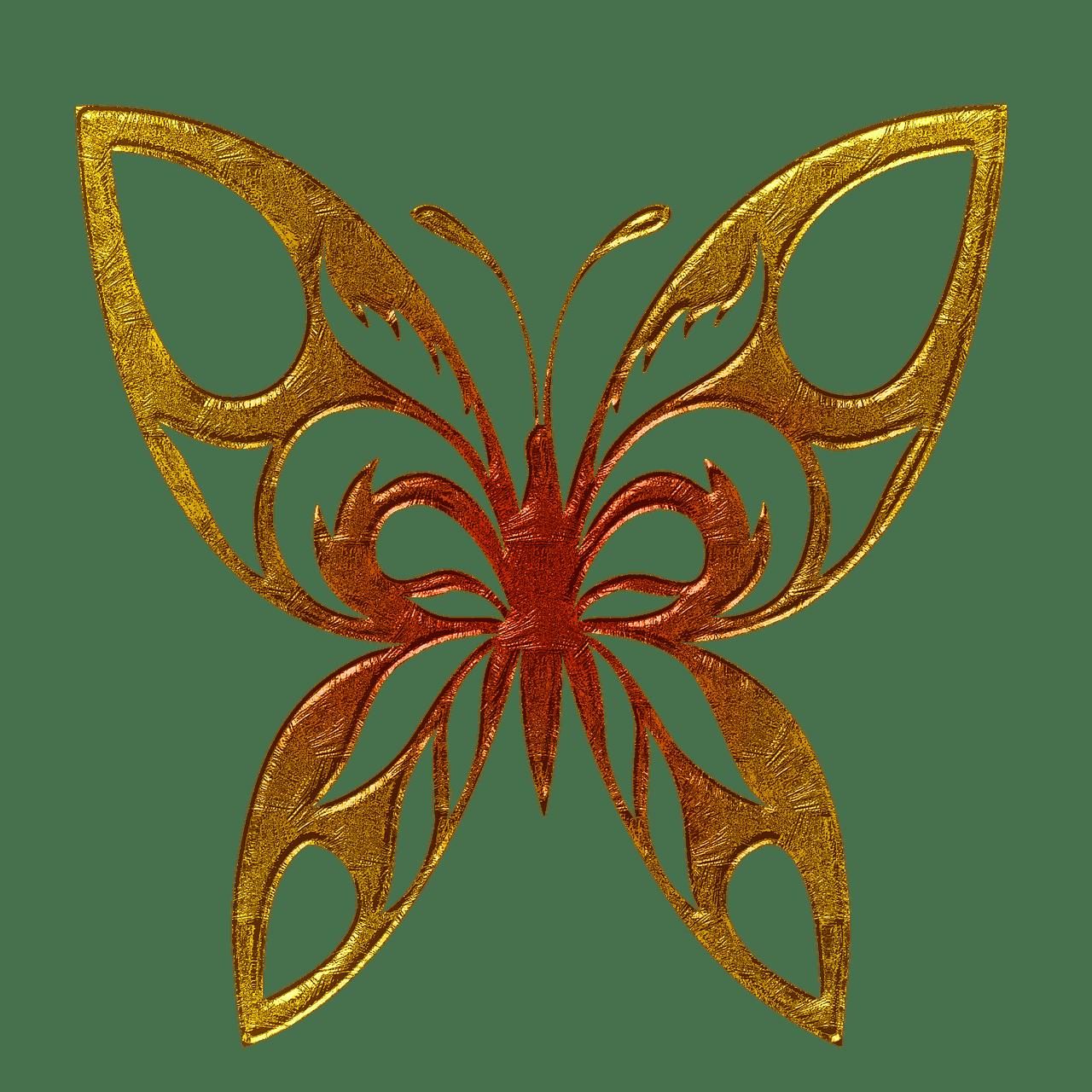butterfly golden clipart transparent png stickpng