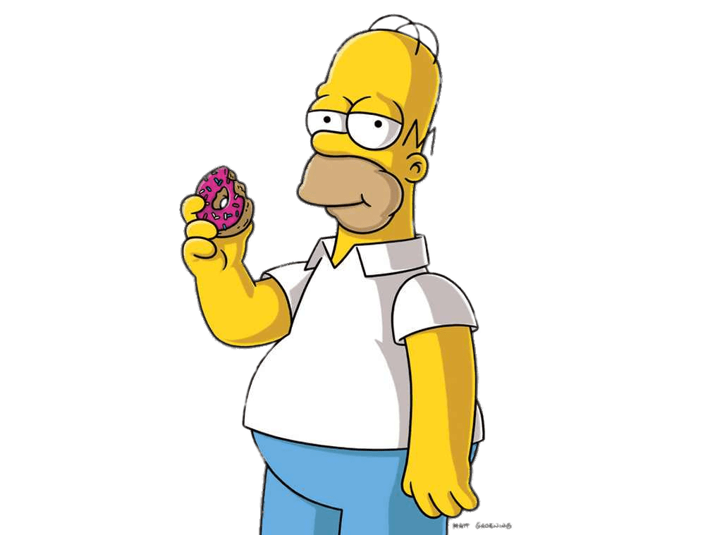 Homer Simpson Eating A Donut Transparent PNG