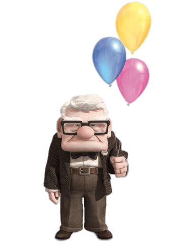 Carl Holding Balloons Transparent PNG