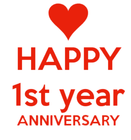 Download Happy First Anniversary Red Letters transparent PNG