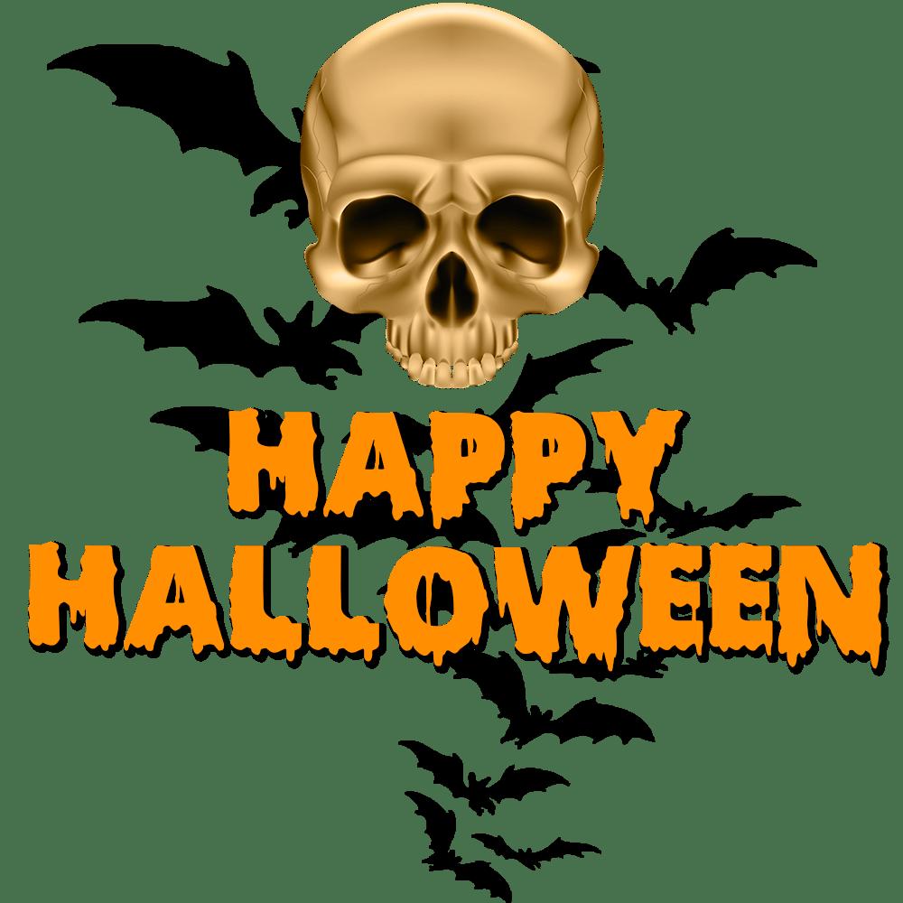Happy Halloween Crâne Et Chauve Souris Png Transparents