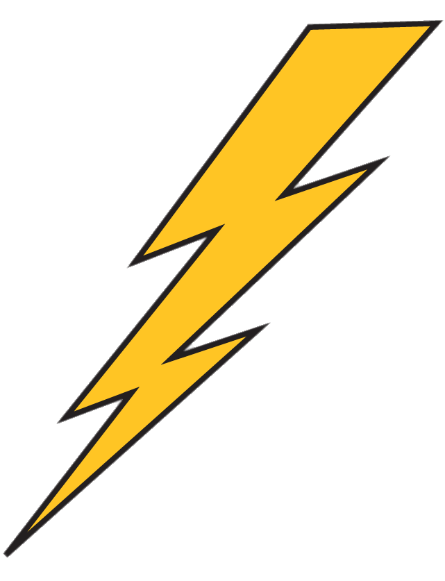 Lightning bolt clear background. Yellow with black outline