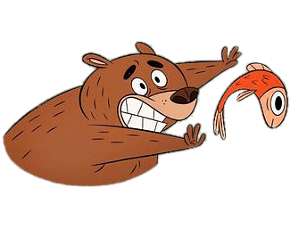 Zip Zip Character Mitch The Bear Trying To Catch A Fish Transparent Png Stickpng