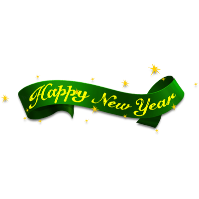 happy new year green ribbon transparent png stickpng