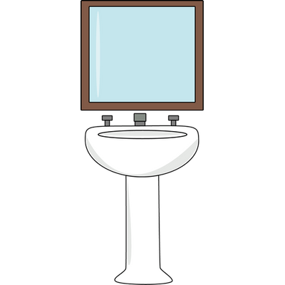 Toilet Sink With Mirror Clipart