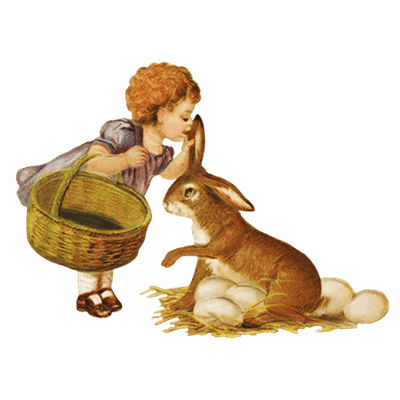 Vintage Bunny And Eggs Clipart