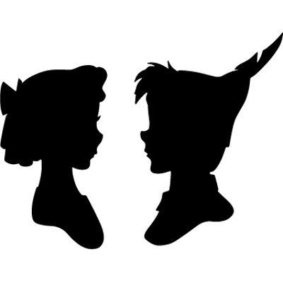 peter pan and wendy silhouette transparent png stickpng