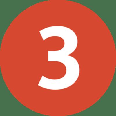 Número 3 Blanco en Círculo Naranja PNG transparente - StickPNG