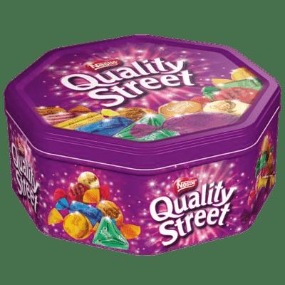Quality Street Chocolate Tin Side View